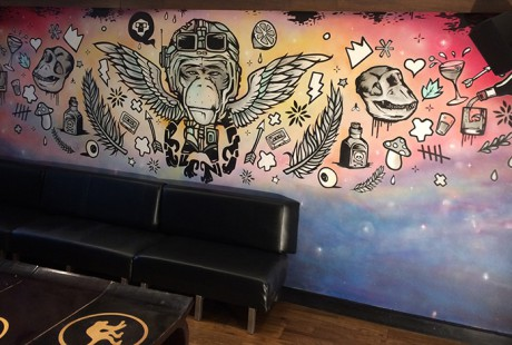 brass monkey mural